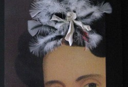 Woman with Ruffled Black Dress in Feathered Headdress, 11 x 14 x 3/4 inches
